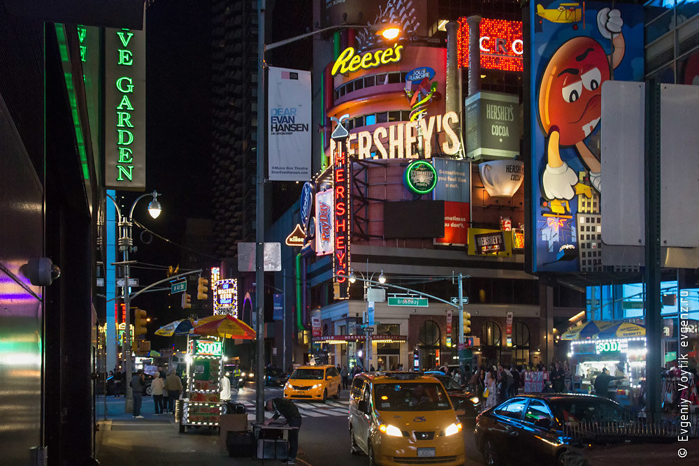 NEW YORK, USA - 9 of October 2017: Broadway Times Square at nigh