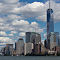 Urban New York American  landscape from ocean (among water) with