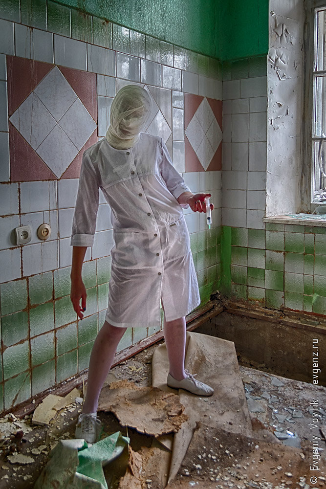 A ghost nurse or a zombie nurse or doctor with a tightly bandage